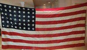 Vintage 48 Star WWII Flag Phil QM Depot Internment Flag 5 'x 9 1/2' Stitched S&S