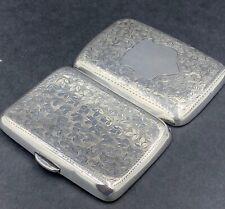More details for hand engraved english sterling silver cigarette case birmingham 1908
