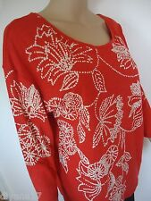 New Lucky Brand Top, poolover, Size L, Red/ beige, cotton