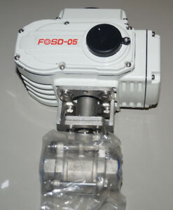 """Sttainless Steel 1"""" Two Way Ball Valve with Electric Actuator 24V DC FOSD-05"""