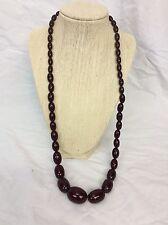 Beautiful Vtg Dark Red Cherry Red Bakelite Faturan Graduated necklace  60.7 g