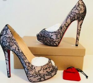 Christian Louboutin Banana 140MM Chantilly Lace Peep Toe Pump SZ 39 (MSRP $1200)