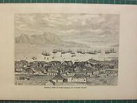C1890 Antico Stampa ~ Generale Vista Di Porto-Grande Porta San Vincent Island