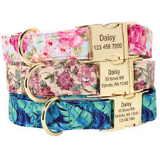 Floral Personalized Dog Collars Pet Name ID Collar Laser Engraved Metal Buckle