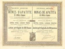 SA de las Minas de Apatita de Jumilla (Espana), accion preferente,Bruselas, 1888