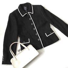 Black Cream trim BOUCLE JACKET 12 Jasper Conrad retro vtg 50s suit smart audrey