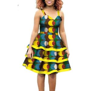 African Cotton Dashiki Wax Print Knee-Length Sleeveless Dress for Women X11936