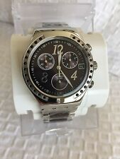 New Swatch Irony Dream Brown Chrono Steel Ceramic Date Watch 40mm YCS526G