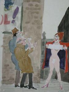 ORIGINAL PLAYBOY COLOR CARTOON ART BY SMILBY FRANCIS WILFORD-SMITH WOMEN'S LIB