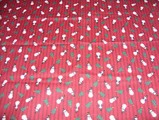 "Snowman Christmas Trees Red Quilting Fabric With Black Stripe 25"" L X 44"" Wide"