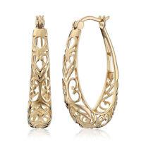 Elegant 18K Yellow Gold Filled Hollow Hoop Earrings Engagement Wedding Jewelry