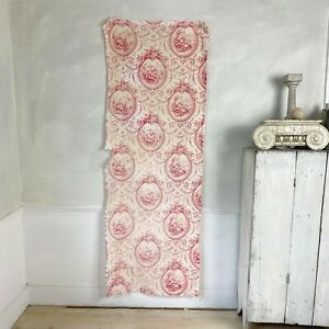 Romantic antique French toile fabric red floral couples birds fabric material