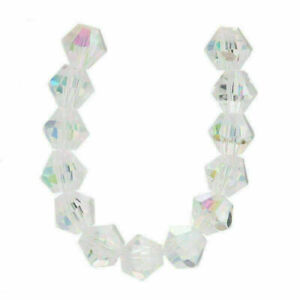 50pcs 6mm Charms Bicone Faceted Crystal Glass Loose Spacer Beads Jewelry Bead#