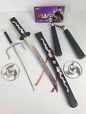 100% PLASTIC Kids Ninja Sword Toy Weapons Set Teenage Ninja Fancy Dress Party
