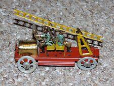 Antique 1910s German Meier Tin Penny Toy Fire Truck Back To Back Men & Ladder
