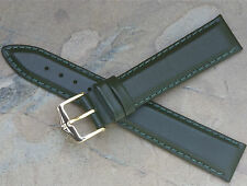 Hirsch 18mm rich green color padded leather vintage watch band water-resistant