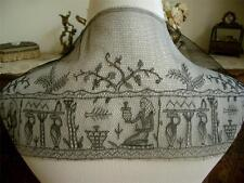 LG RARE EGYPTIAN Antique Vtg BLACK FIGURAL EMBROIDERY NET LACE MOURNING FLOUNCE