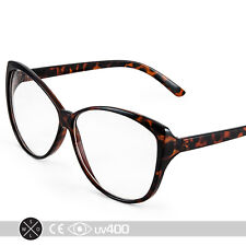 Vintage Tortoise Cat Eye Cateye Shaped Clear Sunglasses Glasses Free Case S008