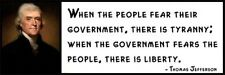 Wall Quote - Thomas Jefferson - When the people fear their government, there is