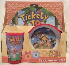 Tickety Tok - 3pc Dinnerware Set - Cup Bowl & Plate - Brand New