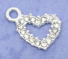 5 Pcs Silver Plated clear  Rhinestone Diamamte  Heart Charm Pendants 19x13mm