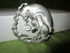 Manatee and Baby Suncatcher. Silver colored metal with 1 crystal.& Suction Cup