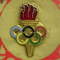Olympic Game Flame - Torch Vintage Enamel Pin Badge