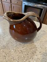 """Hull Pottery Brown Drip Pitcher With Ice Cube Lip 7 1/2"""""""