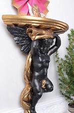 Konsole Antik Wandkonsole Gold Schwarz Cupid Engelkonsole Wanddeko Barock