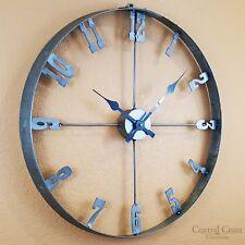 Wine Barrel Steel Hoop Clock Large Wall Rustic Furniture Decor Handmade Decor