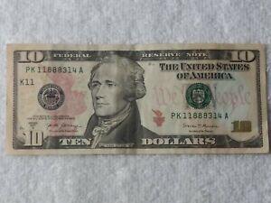 FEDERAL RESERVE NOTE TEN DOLLARS BILL