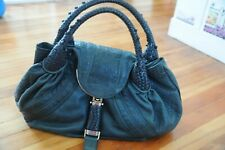 Authentic FENDI Large Green Teal Full Cow Leather SPY Handbag!