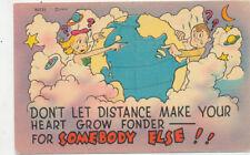 C6672 1940-50 LINEN POSTCARD COMIC HUMOUR LOVE ROMANCE FANTASY