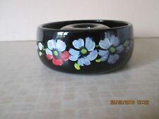 Vintage 1930s Jet Black Bagley Art Deco Glass Posy Bowl with Flower Decoration