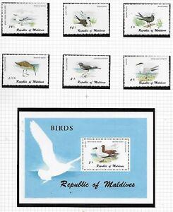 MALDIVES 1980 Birds set & Mini Sheet MINT NH