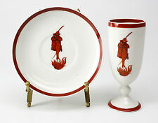 2pc Baucher Porcelain Cup & Saucer; Red Diablo Retailed by Arthur Schiller & Son