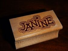 """JANINE Personalized Name Rubber Stamp Name-Brand - Heart dot for the """"I"""""""