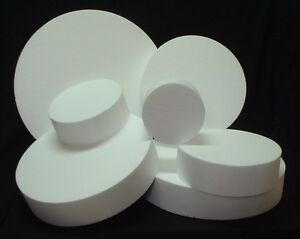 "Round CAKE DUMMY 2"" 3"" & 4"" Thick 6"" to 15"" EPS Foam Wedding Styrofoam Disc Fake"