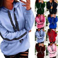 Women Plus Size Hoodie Long Sleeve Solid Sweatshirt Hooded Pullover Tops Shirt