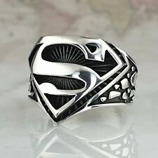 Superman Ring Solid 925 Sterling Silver Mens Ring HandMade AAA Quality