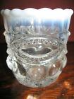 crystal clear Opalescent glass toothpick Q-tip holder match eyewinker pattern 2