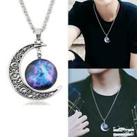 Silver Hollow Moon Star Semicircle Amethyst Gemstone Pendant Necklace V6J7