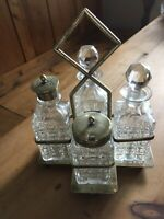 ANTIQUE ART DECO SILVER PLATE AND CRYSTAL CUT GLASS CRUET SET
