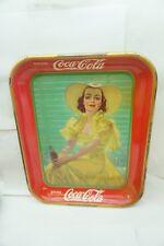 VINTAGE COKE TRAY COCA COLA 1938 GIRL AT SHADE CRANDALL OLD ORIGINAL LADY d