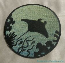 Embroidered Manta Ray Ocean Silhouette Blue Ombre Circle Patch Iron On Sew USA
