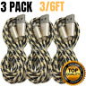 3 Pack 3/6Ft USB Lightning Charger Cable iPhone X 6 7 8 Heavy Duty Charging Cord