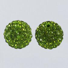 12 unidades pedrería perlas beads perlas Shamballa verde oliva 10 mm (1350)