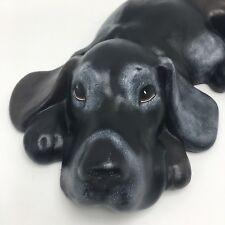 Vintage Ceramic Sleeping Lying Bluetick Coonhound Black Hound Dog Bloodhound