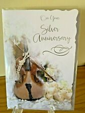 Silver Wedding Anniversary Silver Foil Quality Card Celebrate 25 years Party