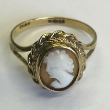 Vintage Solid 9ct Gold Hallmarked Cameo Ring Size L1/2 Edinburgh Made
